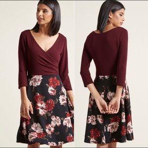 ModCloth Maroon Floral Faux Wrap Dress